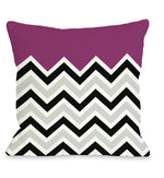 Chevron Solid - Fuchsia Outdoor Throw Pillow by OBC