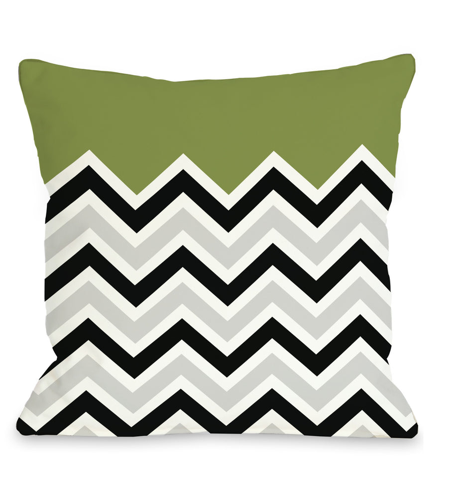 Chevron Solid - Green Outdoor Throw Pillow by OBC