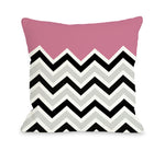 Chevron Solid - Pink Outdoor Throw Pillow by OBC