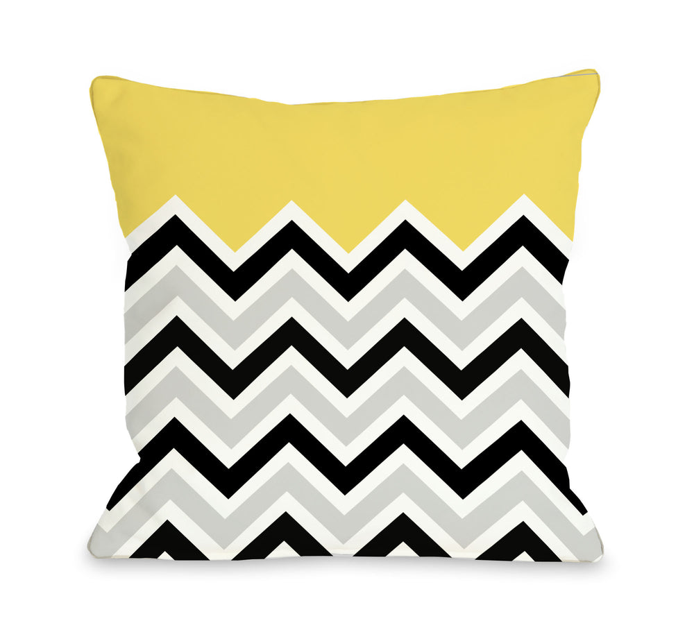 Chevron Solid - Yellow Outdoor Throw Pillow by OBC