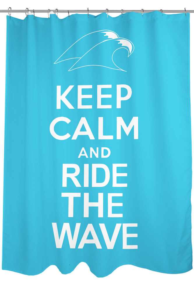 Keep Calm Ride The Wave Shower Curtain By OBC