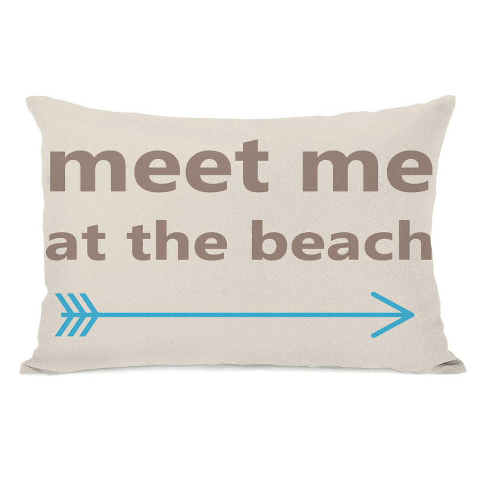 Meet Me at the Beach Outdoor Throw Pillow by OBC