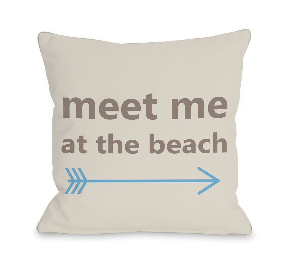 Meet Me at the Beach Throw Pillow by OBC