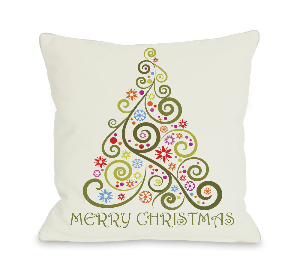 Merry Christmas Whimsical Tree Throw Pillow by OBC