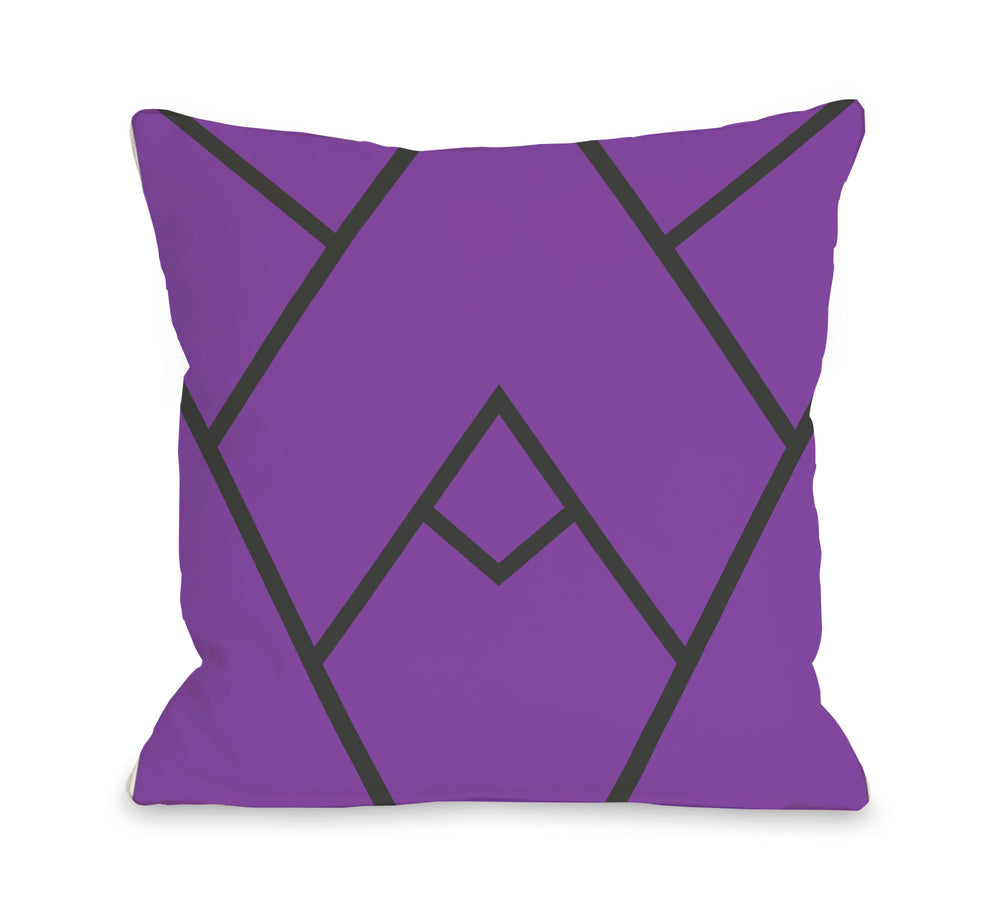Mountain Peak - Purple  Outdoor Throw Pillow by OBC