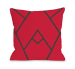 Mountain Peak - Red  Outdoor Throw Pillow by OBC