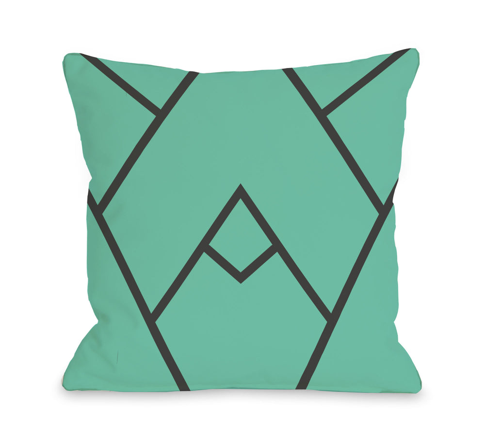 Mountain Peak - Turquoise  Outdoor Throw Pillow by OBC