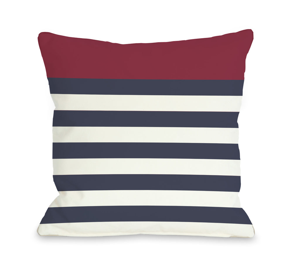 Nautical Stripes - Red Outdoor Throw Pillow by OBC