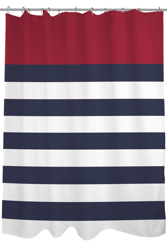 Nautical Stripes - Red Shower Curtain by OBC