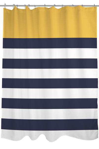 Nautical Stripes  Mimosa Shower Curtain by OneBellaCasa com Curtains One Bella Casa Home Decor onebellacasa