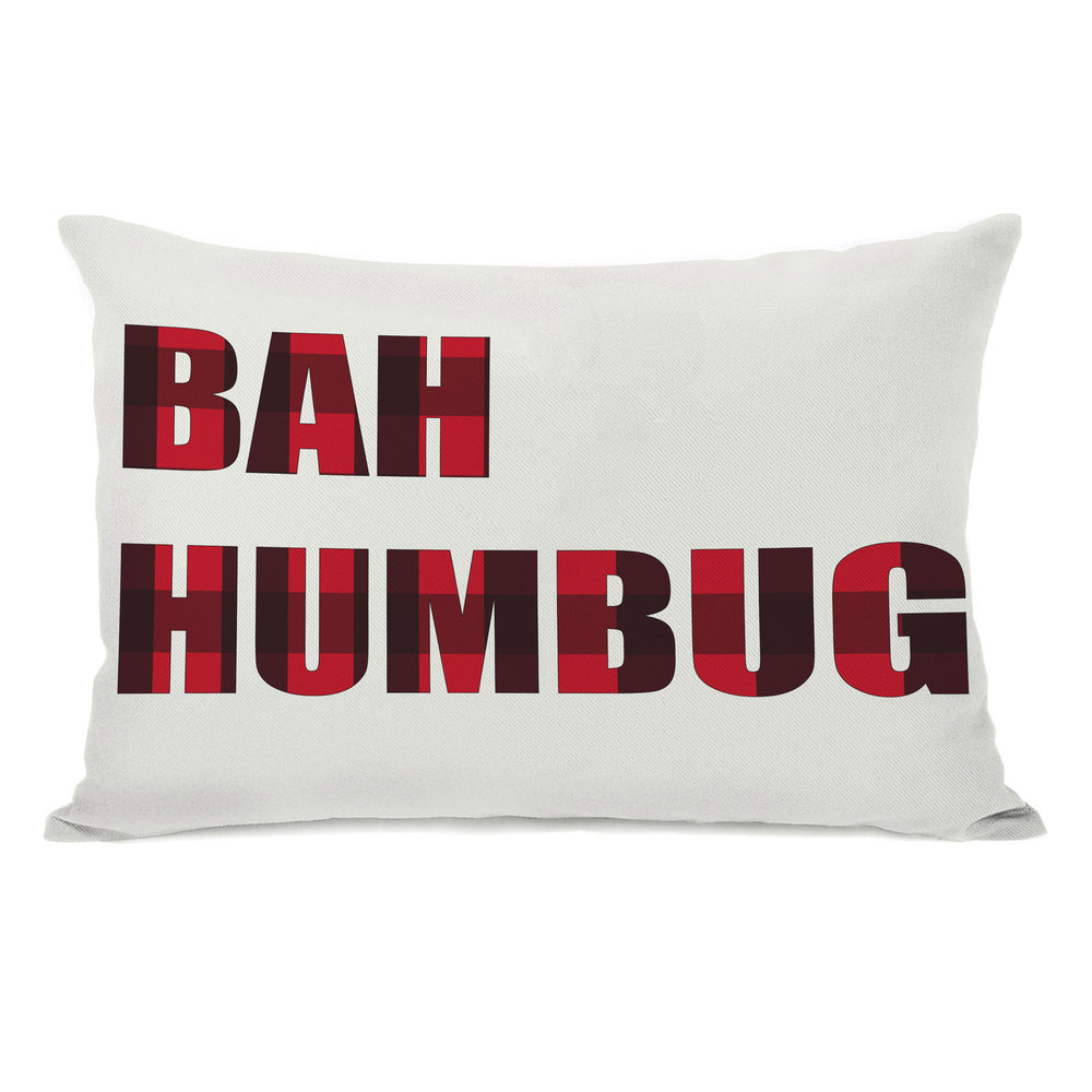 Plaid Bah Humbug Reversible Throw Pillow by OBC