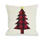 Plaid Christmas Tree Reversible Throw Pillow by OBC