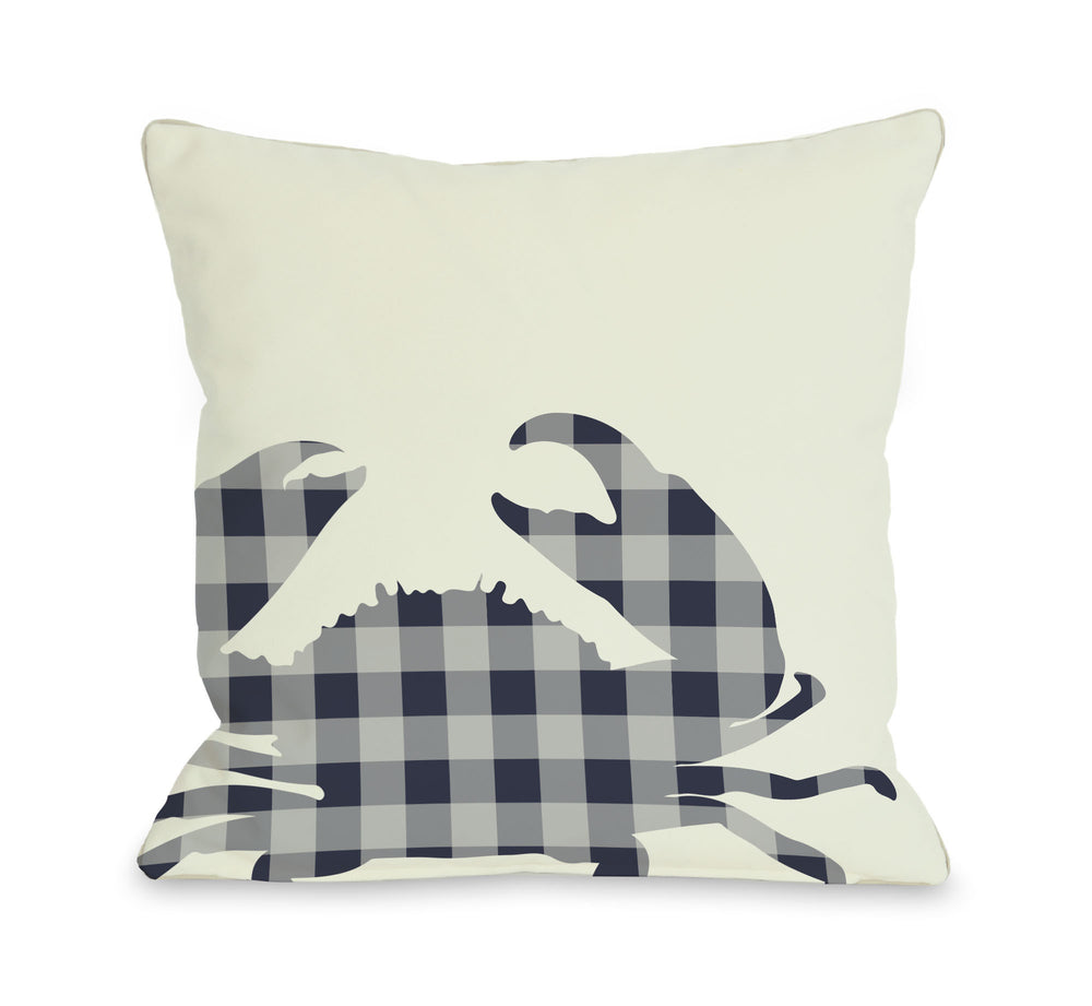 Plaid Crab - Navy Outdoor Throw Pillow by OBC