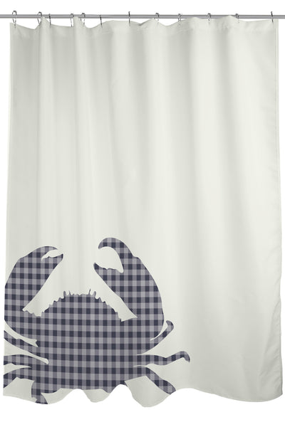 Plaid Crab - Navy Shower Curtain by OneBellaCasa.com