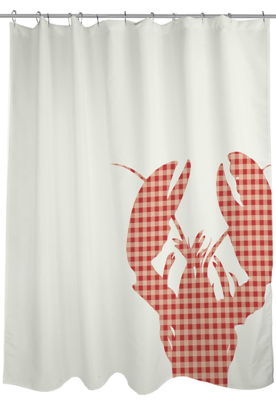 plaid lobster red shower curtain by