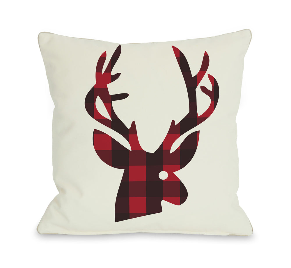 Plaid Reindeer Reversible Throw Pillow by OBC