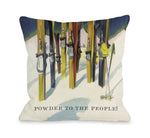 Powder to the People Vintage Ski Throw Pillow by OBC