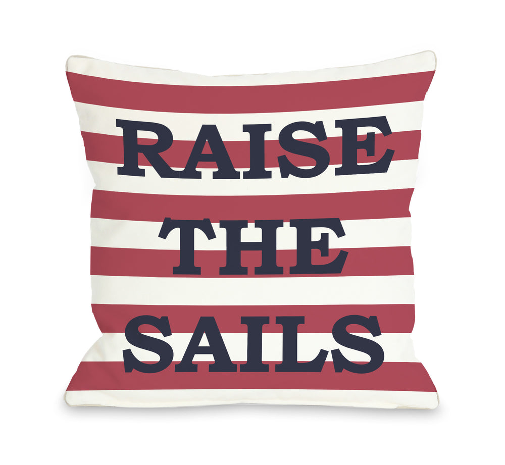 Raise The Sails Striped Throw Pillow by OBC