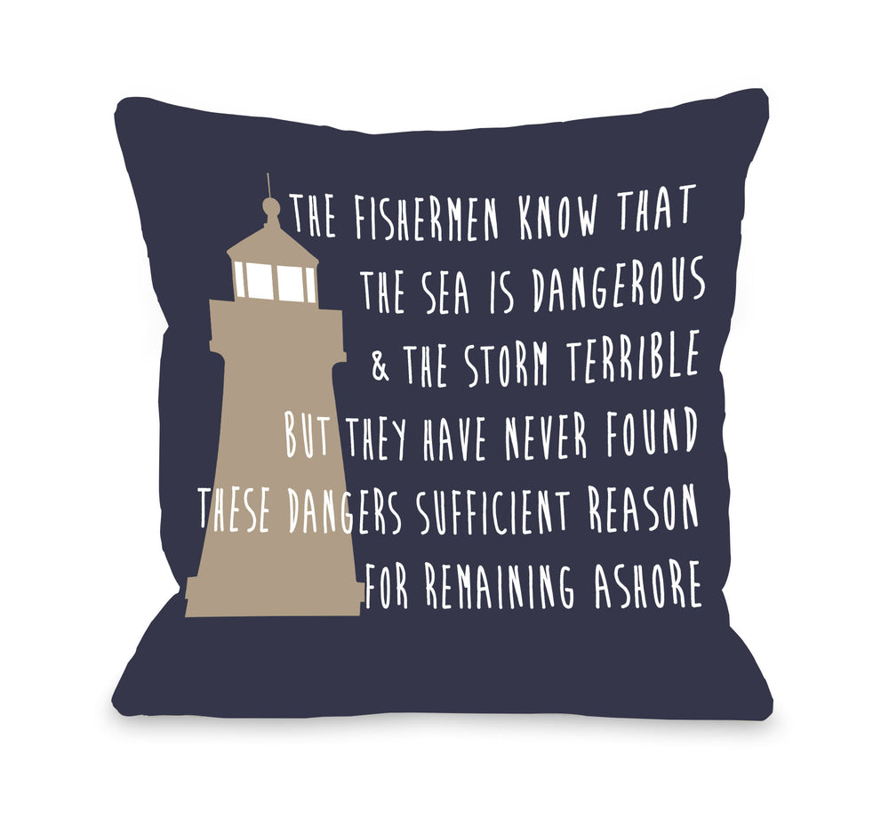 Remain Ashore Throw Pillow by OBC