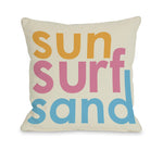 Sun Surf Sand Outdoor Throw Pillow by OBC