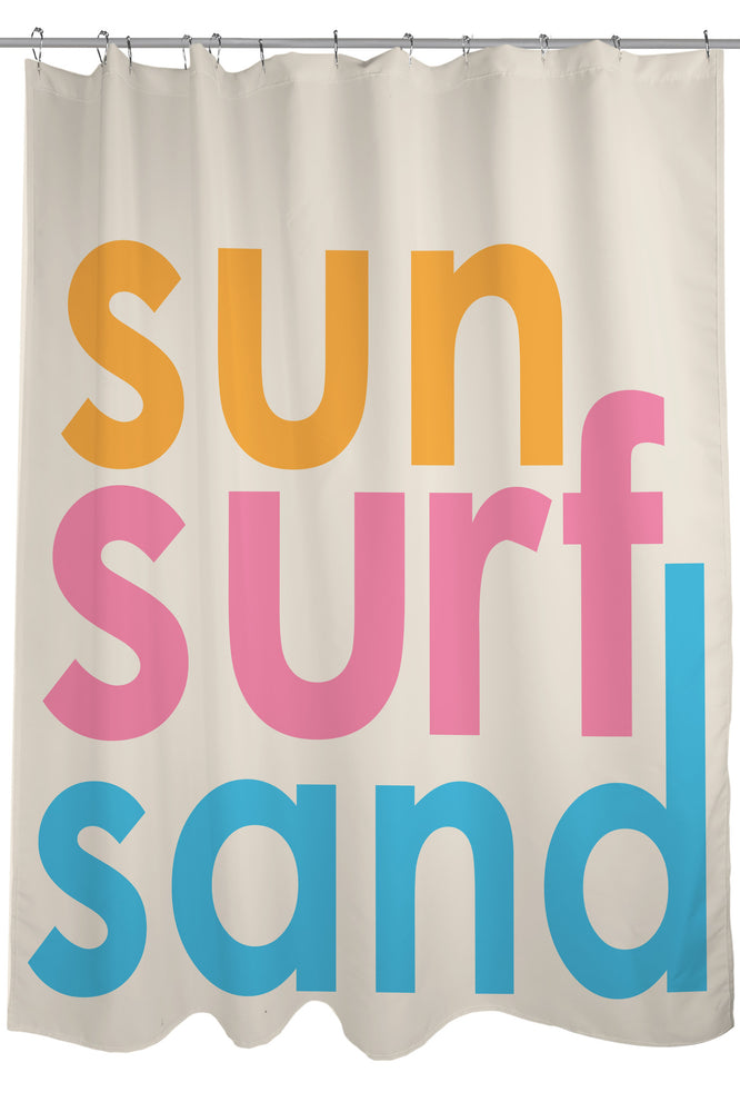Sun Surf Sand Shower Curtain by OBC