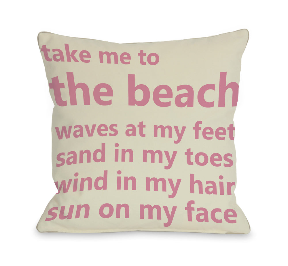 Take Me to the Beach Throw Pillow by OBC