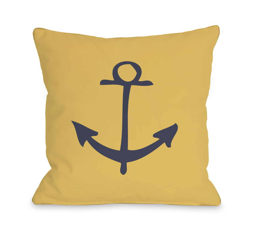 Vintage Anchor - Mimosa Throw Pillow by OBC