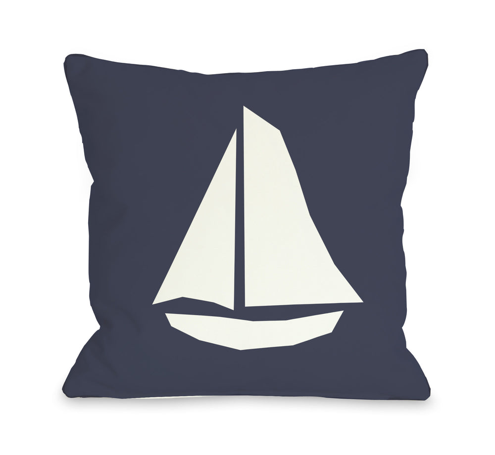 Vintage Sailboat - Navy Throw Pillow by OBC