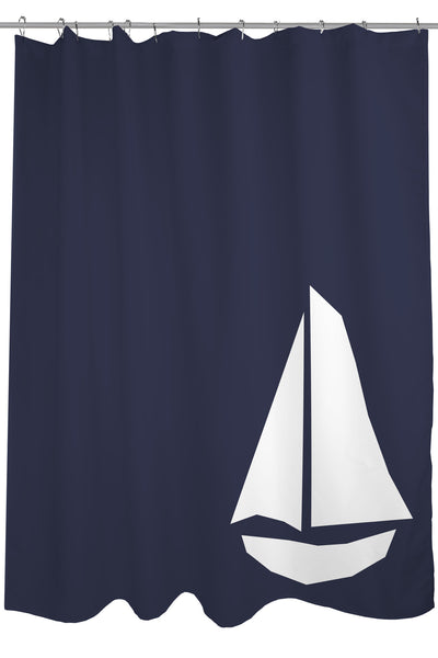 Vintage Sailboat - Navy Shower Curtain by OneBellaCasa.com