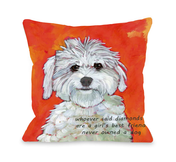 Girl's Best Friend Throw Pillow by Ursula Dodge