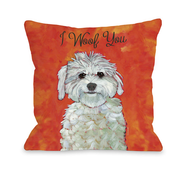 I Woof You Throw Pillow by Ursula Dodge