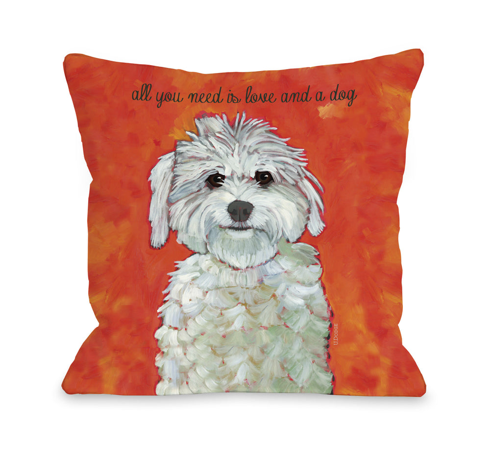 Love & A Dog Throw Pillow by Ursula Dodge