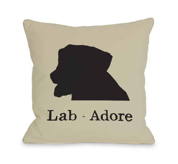 Lab Adore Oatmeal Black Throw Pillow by OneBellaCasa.com