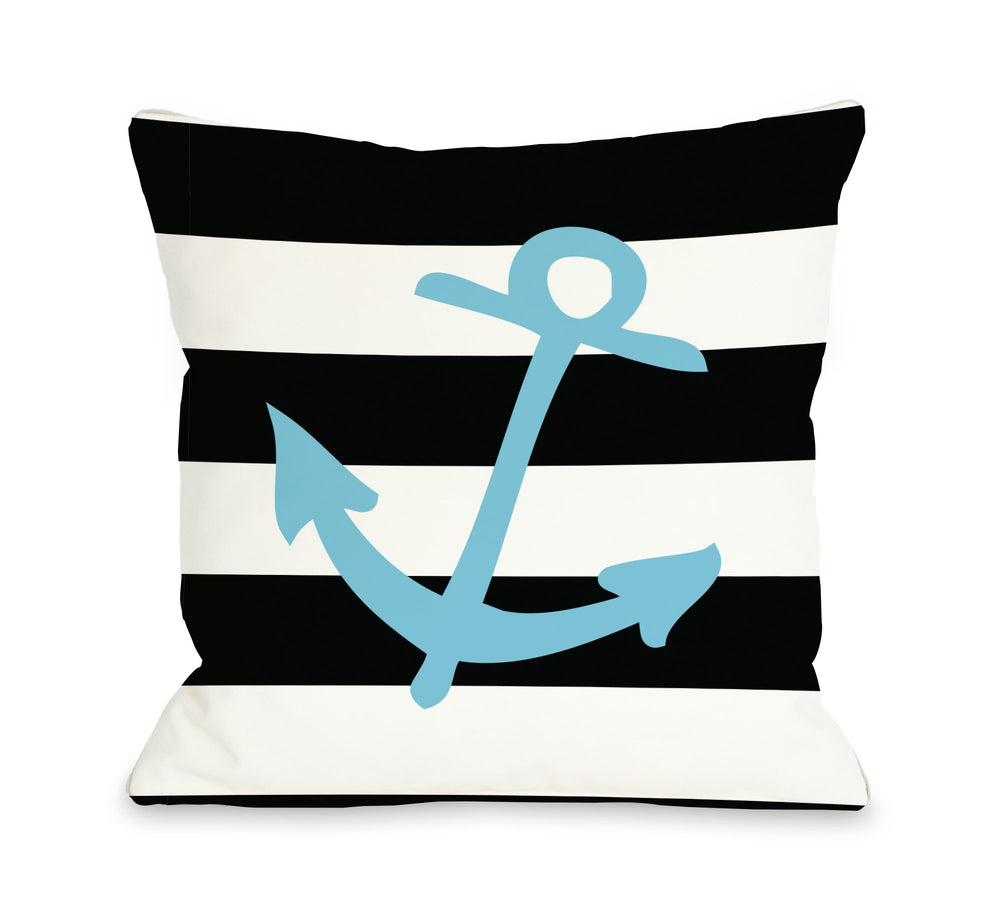 Striped Neon Anchor - Blue Throw Pillow by OBC