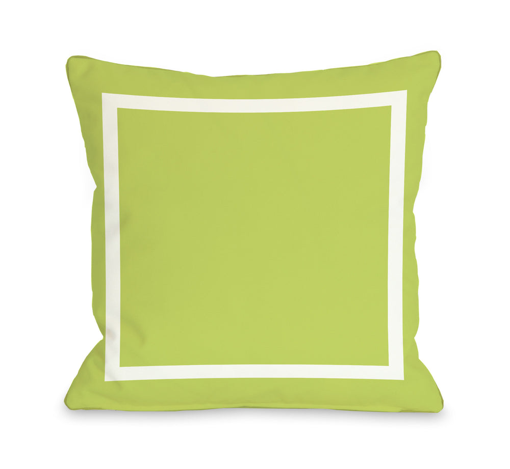 Samantha Simple Square - Lime Green Outdoor Throw Pillow by OBC