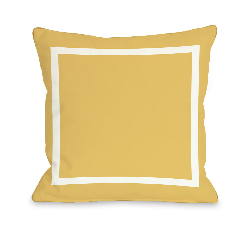 Samantha Simple Square - Mimosa Yellow Outdoor Throw Pillow by OBC