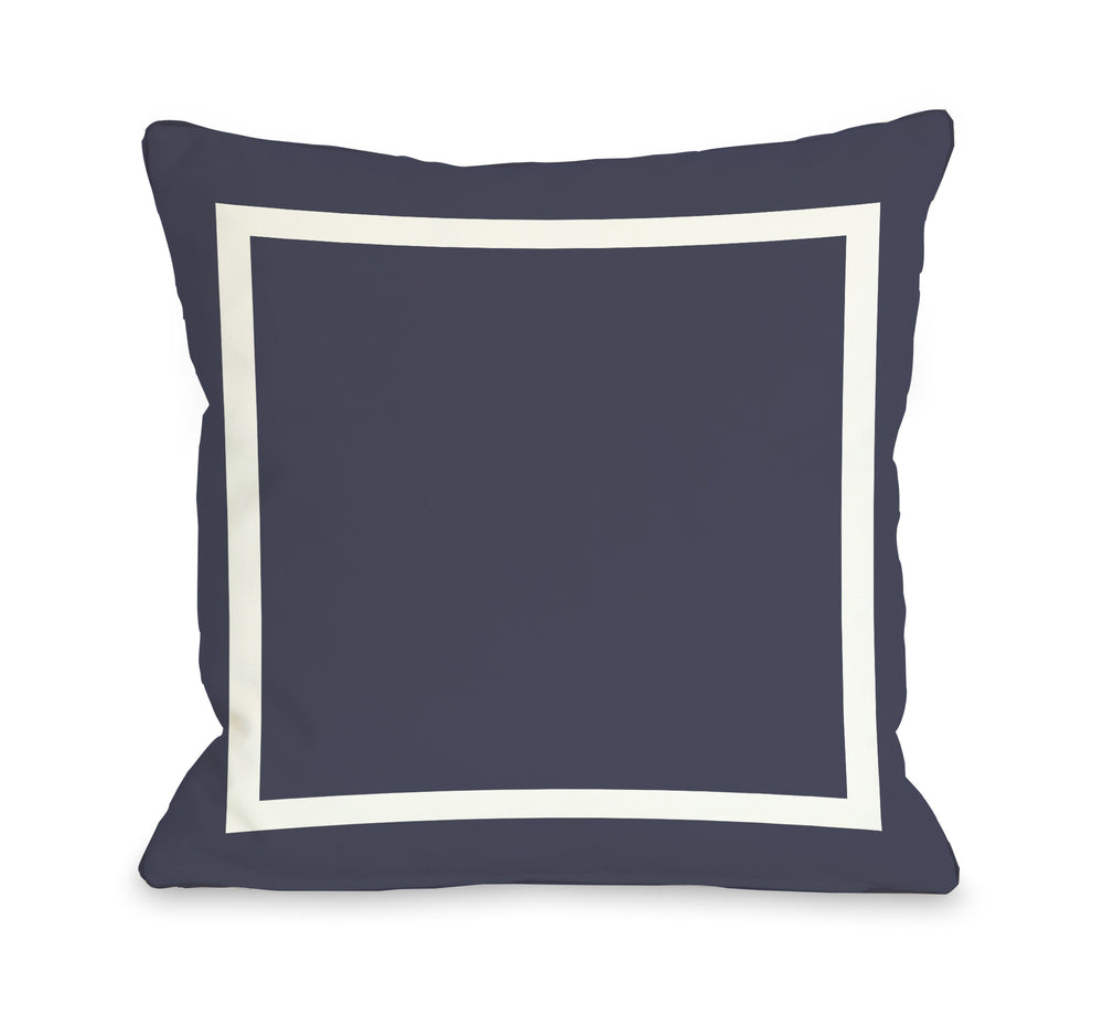 Samantha Simple Square - Navy Outdoor Throw Pillow by OBC