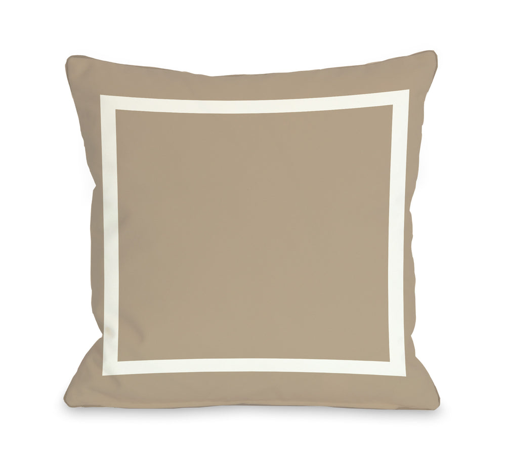 Samantha Simple Square - Tan Outdoor Throw Pillow by OBC