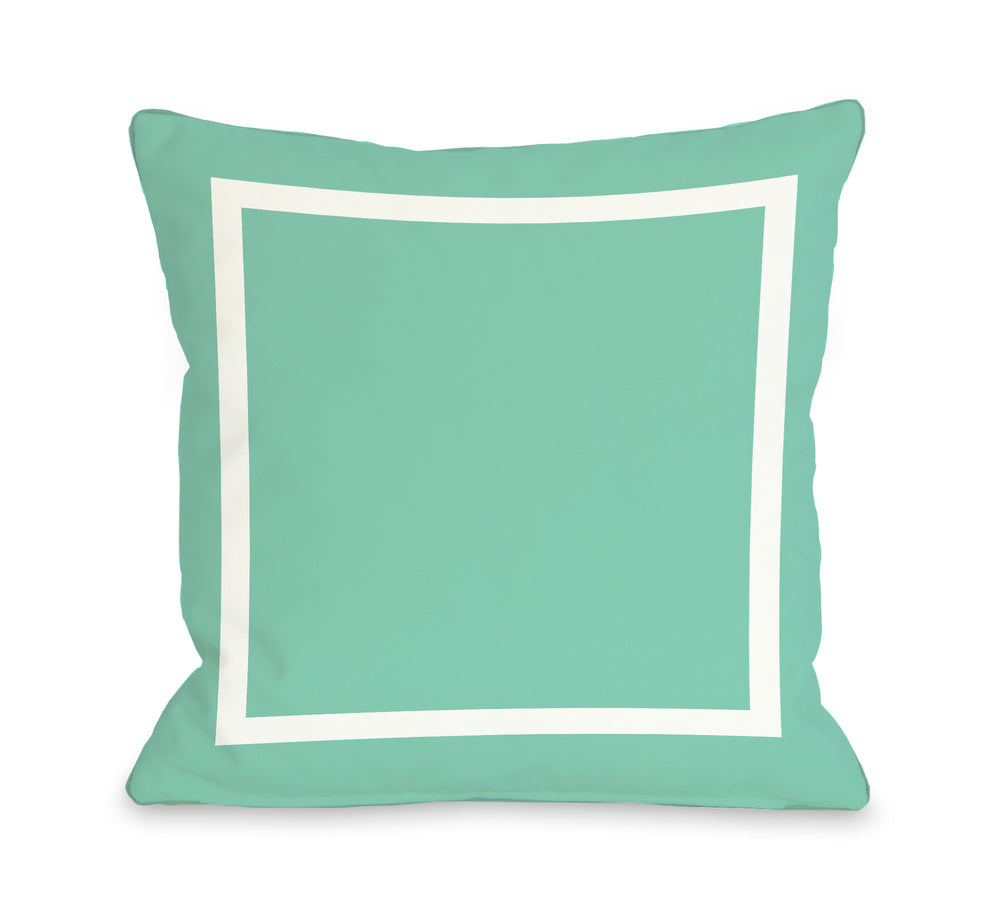Samantha Simple Square - Turquoise Outdoor Throw Pillow by OBC