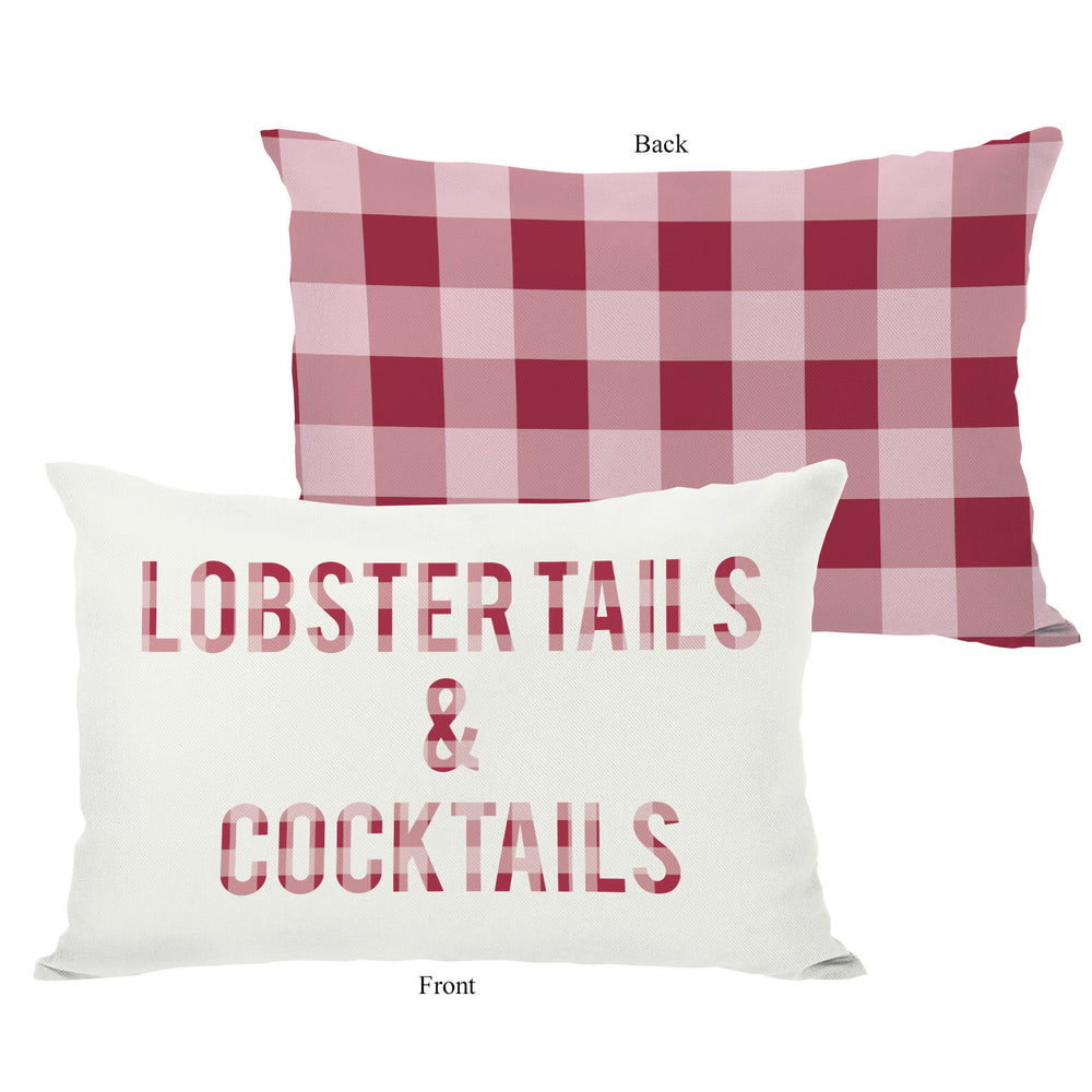 Lobster Tails and Cocktails Plaid - Red Outdoor Throw Pillow by OBC