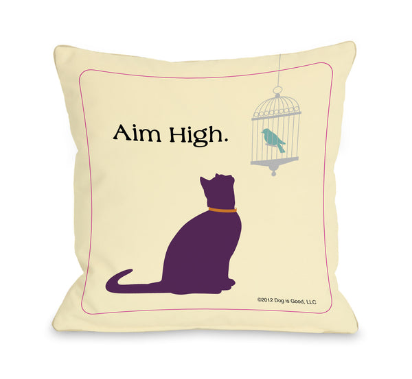 Aim High Cat Throw Pillow by Dog Is Good