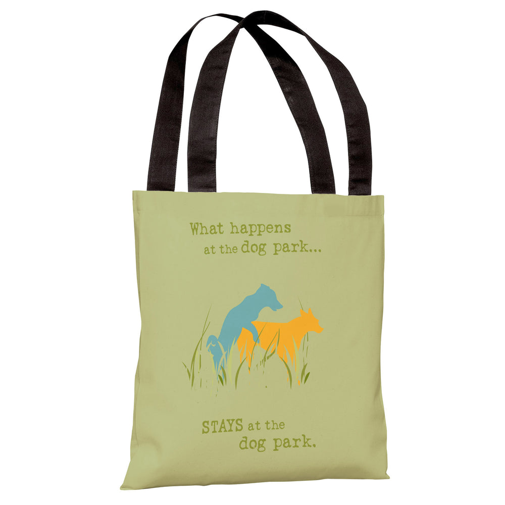 Dog Park - Green Yellow Blue Tote Bag by Dog is Good