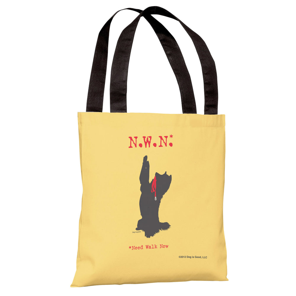 Need Walk Now - Yellow Tote Bag by Dog is Good