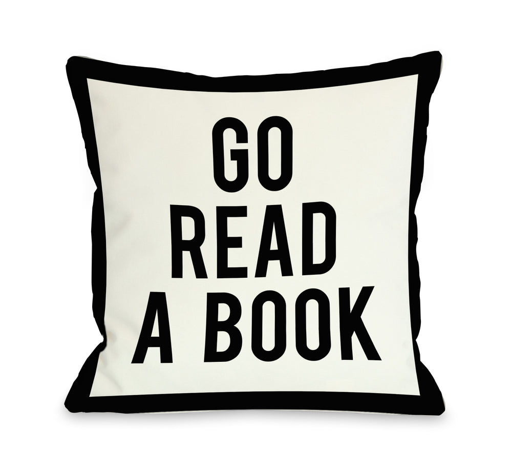 Gingham Go Read A Book - Black White Throw Pillow by OBC