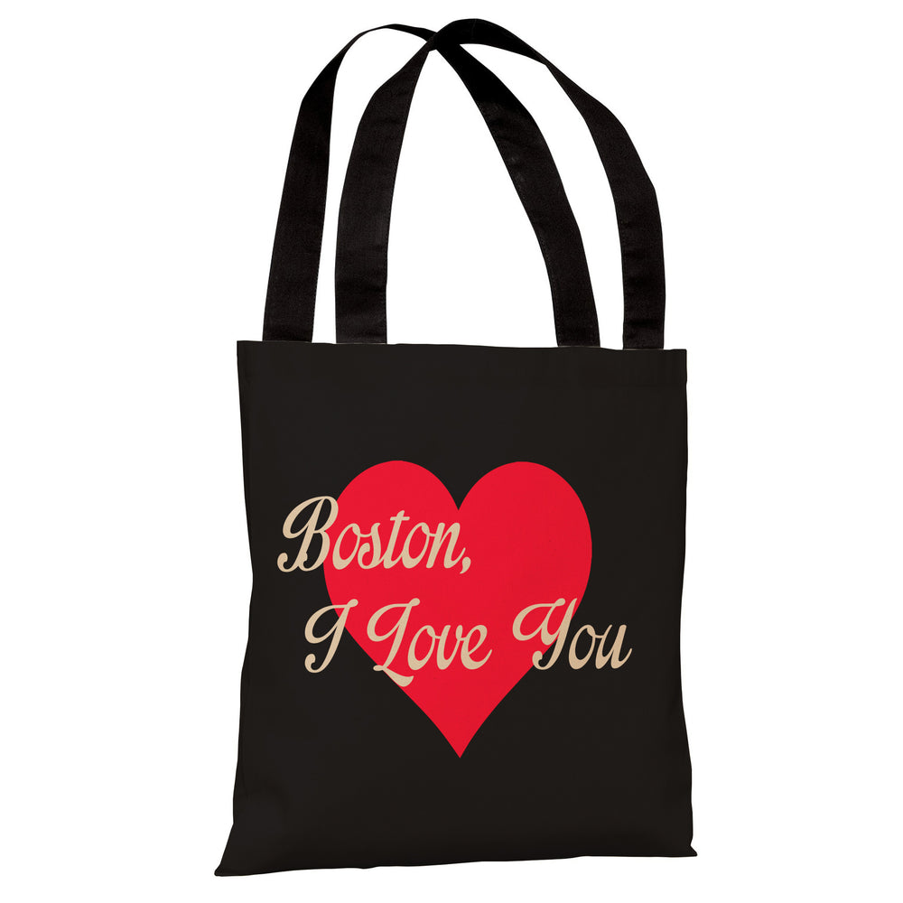 Boston I Love You Heart - Black Red Tote Bag by OBC
