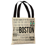 Boston Words Subway Style - Ivory Gray Tote Bag by OBC