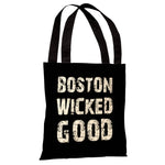 Boston Wicked Good - Black White Tote Bag by OBC