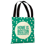 Home is Boston Dots - Emerald Tote Bag by OBC