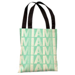 Miami Repeat - Aqua White Tote Bag by OBC
