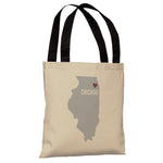Chicago Heart Map - Oatmeal Red Tote Bag by OBC